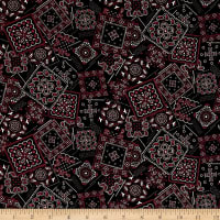 Kaufman Sevenberry  Lawn Bandana Patch Black