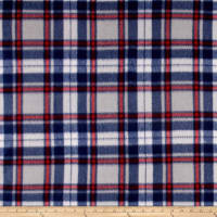 Polar Fleece Print Herringbone Plaid Navy Grey