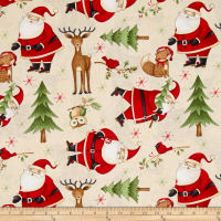 Debbie Mum Santa And Friends Santa & Woodland Friends Toss Ivory