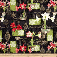 Christmas In Bloom Large Allover Black