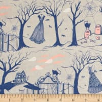 Cotton + Steel Boo Halloween Lane Natural Pearlescent