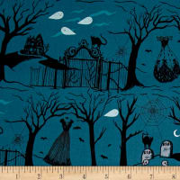 Cotton + Steel Boo Halloween Lane Blue Pearlescent