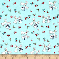 Riley Blake Pixie Noel Snow Bunnies Aqua
