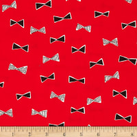 Kokka Monochrome Canvas Bowties Red