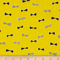 Kokka Monochrome Canvas Bowties Yellow