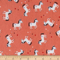 Riley Blake Jersey Knit Coral Princess Unicorn Coral