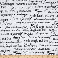 "Sew Hope Full 108"" Wide Hope Words Black White"