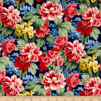 Newport Flannel Large Floral Navy