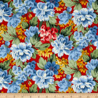 Newport Flannel Large Floral Red