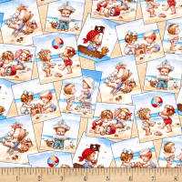 Beach Kids Postcards Cream