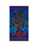 Timeless Treasures Paradise 24 In. Tree Panel Blue