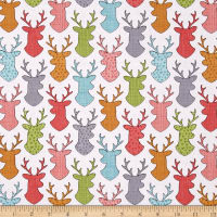 Timeless Treasures Walk In The Woods Deer Head Silhouettes White