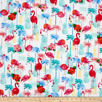 Timeless Treasures Flamingos & Pineapples White