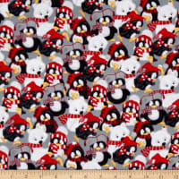 Arctic Antics Flannel Stacked Penguins Multi