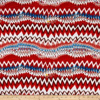 Stretch ITY Knit Zig Zag Print Red