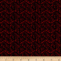 Jersey Knit Abstract Basket Weave Red Black