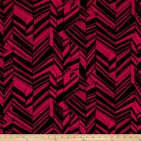 Jersey Knit Abstract Zig Zag Black Fuchsia