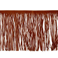 "10"" Faux Suede Fringe Trim Chestnut Brown"