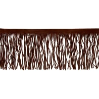 "6"" Faux Suede Fringe Trim Brown"