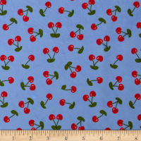 Minky Cherries Blue/Red