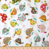 E.Z. Fabric Minky Happy Turtles White