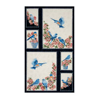 "Bluebird Gathering 23"" Panel Blue/Cream"