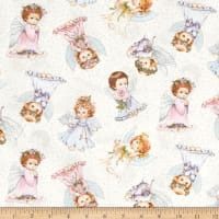 Angels and Fairies Metallic Allover White