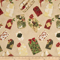 Warm Wishes Metallic Holiday Tags Cream/Gold