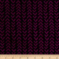 Triangle Stripes Rayon Challis Black/Boysenberry