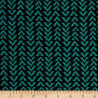 Triangle Stripes Rayon Challis Black/Atlantis