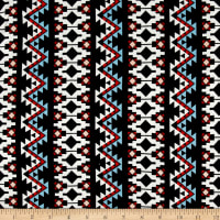 Aztec Stripe Jersey Knit Black/Orange