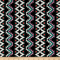 Aztec Stripe Jersey Knit Black/Jade