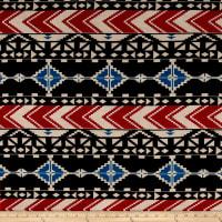 Aztec Chevron Diamond Jersey Knit Print Garnet/Black