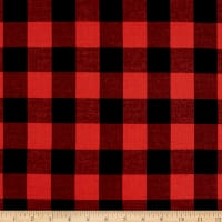 Cotton Lawn Buffalo Plaid Black/Scarlet