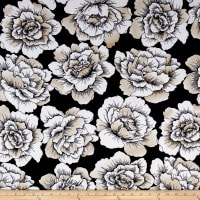 Sweet Blooms Stretch ITY Jersey Knit Black/Buff