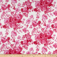 Romantic Floral Pique Knit Print Ivory/Fruitpunch