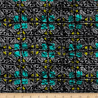 Shaded Squares Rayon Crepe Print Black/Jade