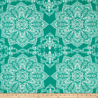 Mosaic Flower Stretch ITY Atlantis/Ivory