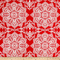 Mosaic Flower Stretch ITY Jersey Knit Coral/Ivory