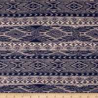 Mayan Diamond Stripe Span Jersey Knit Navy/Buff