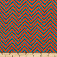 Rayon Challis Zig Zag Orange/Teal