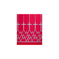 Stretch ITY Jersey Knit Cross Double Border Print Hot Pink/Aqua