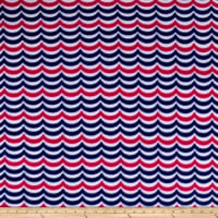Sail Away Waves Fleece Navy/Pink