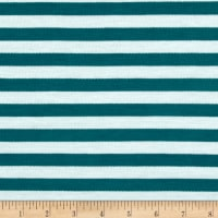 French Terry Knit Stripe Teal/Ivory
