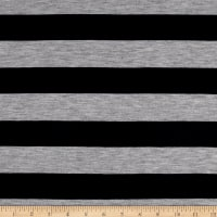 Jersey Knit Stretch Stripe Navy/Grey Heather