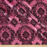 Flocked Damask Taffetta Candy Pink/Black