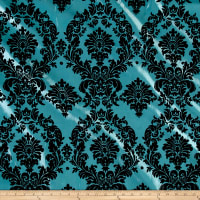 Flocked Damask Taffetta Aqua Blue/Black