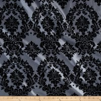 Flocked Damask Taffetta Silver/Black