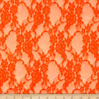 Giselle Stretch Floral Lace Neon Orange