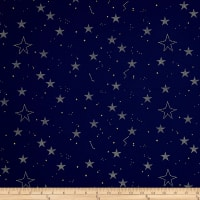 Michael Miller Sarah Jane Magic Metallic Lucky Stars Navy